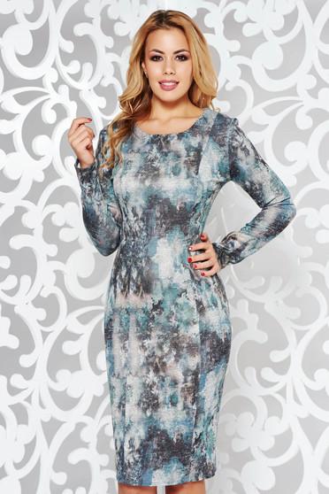 Rochie gri de zi tip creion din material tricotat cu print