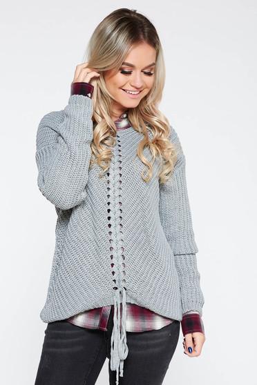 Pulover SunShine gri casual cu croi larg din material tricotat accesorizat cu snur