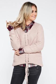 Pulover SunShine rosa casual cu croi larg din material tricotat accesorizat cu snur