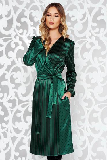 Rochie StarShinerS verde eleganta midi petrecuta din material satinat accesorizata cu cordon