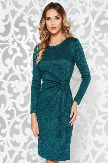 Rochie StarShinerS verde de zi cu un croi mulat din material tricotat cu maneci lungi