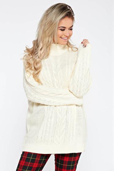 Pulover crem casual cu croi larg din material tricotat cu maneci lungi
