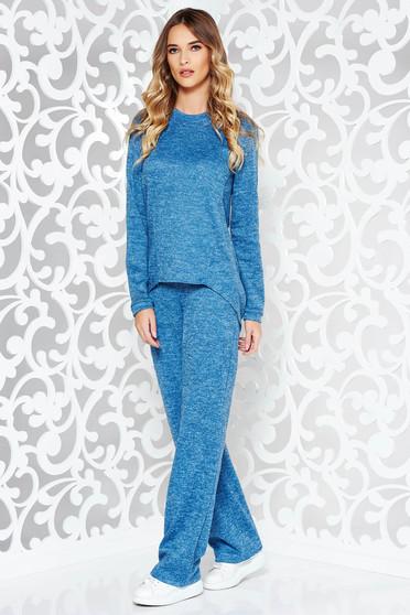 Compleu StarShinerS albastru casual cu croi larg din material tricotat cu buzunare