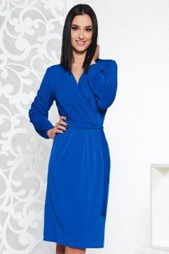 Rochie StarShinerS albastra eleganta din material fin la atingere cu elastic in talie accesorizata cu cordon
