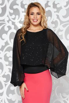 Bluza dama StarShinerS neagra eleganta cu un croi mulat suprapunere cu voal cu aplicatii stralucitoare