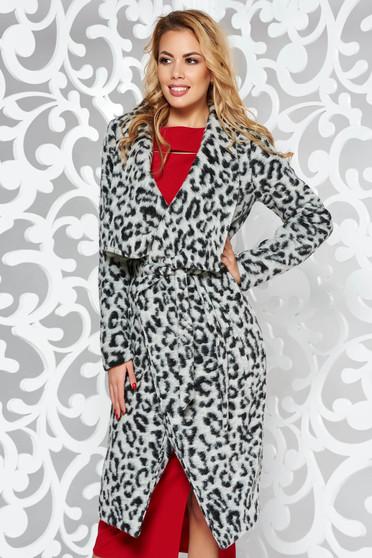 Palton StarShinerS gri cu croi larg cu maneci lungi din material gros animal print