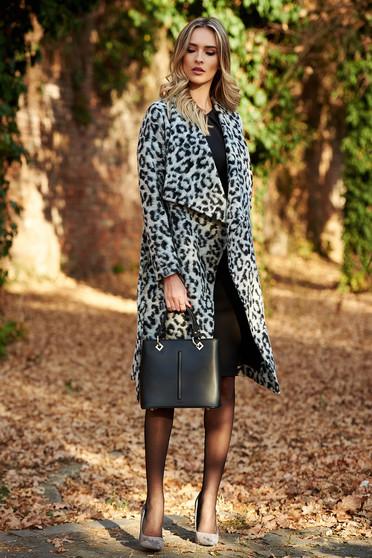 Palton StarShinerS gri casual cu croi larg din material gros cu animal print accesorizat cu cordon