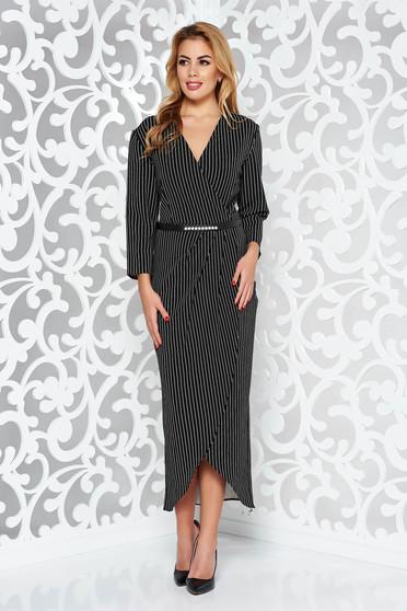 Rochie neagra eleganta asimetrica cu maneca 3/4 din material neelastic cu accesoriu tip curea