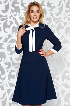 Rochie albastra-inchis office midi din stofa elastica subtire cu guler