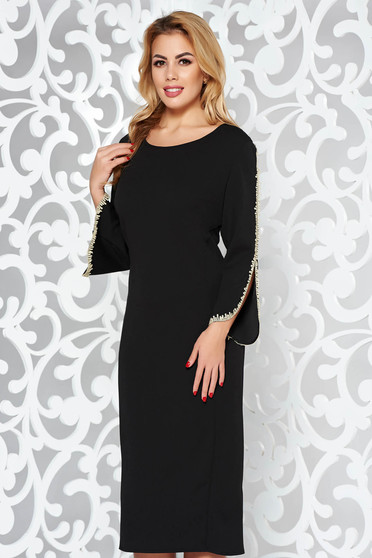 Rochie neagra eleganta tip creion din material elastic cu insertii de broderie cu maneci trei-sferturi