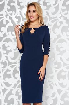 Rochie albastra-inchis eleganta tip creion din bumbac elastic cu maneci decupate cu aplicatii cu perle