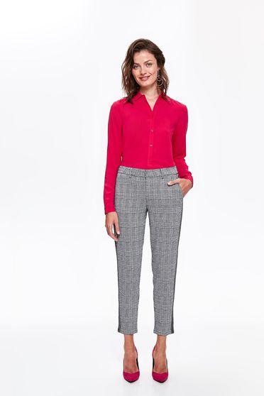 Pantaloni Top Secret gri office cu talie medie din stofa usor elastica in carouri