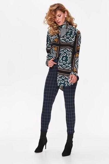 Bluza dama Top Secret verde casual cu croi larg asimetrica din material vaporos