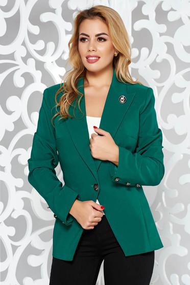 Sacou LaDonna verde office cambrat din stofa usor elastica captusit pe interior accesorizat cu nasturi