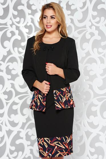 Compleu negru elegant din stofa usor elastica cu rochie tip creion si sacou cu un croi cambrat