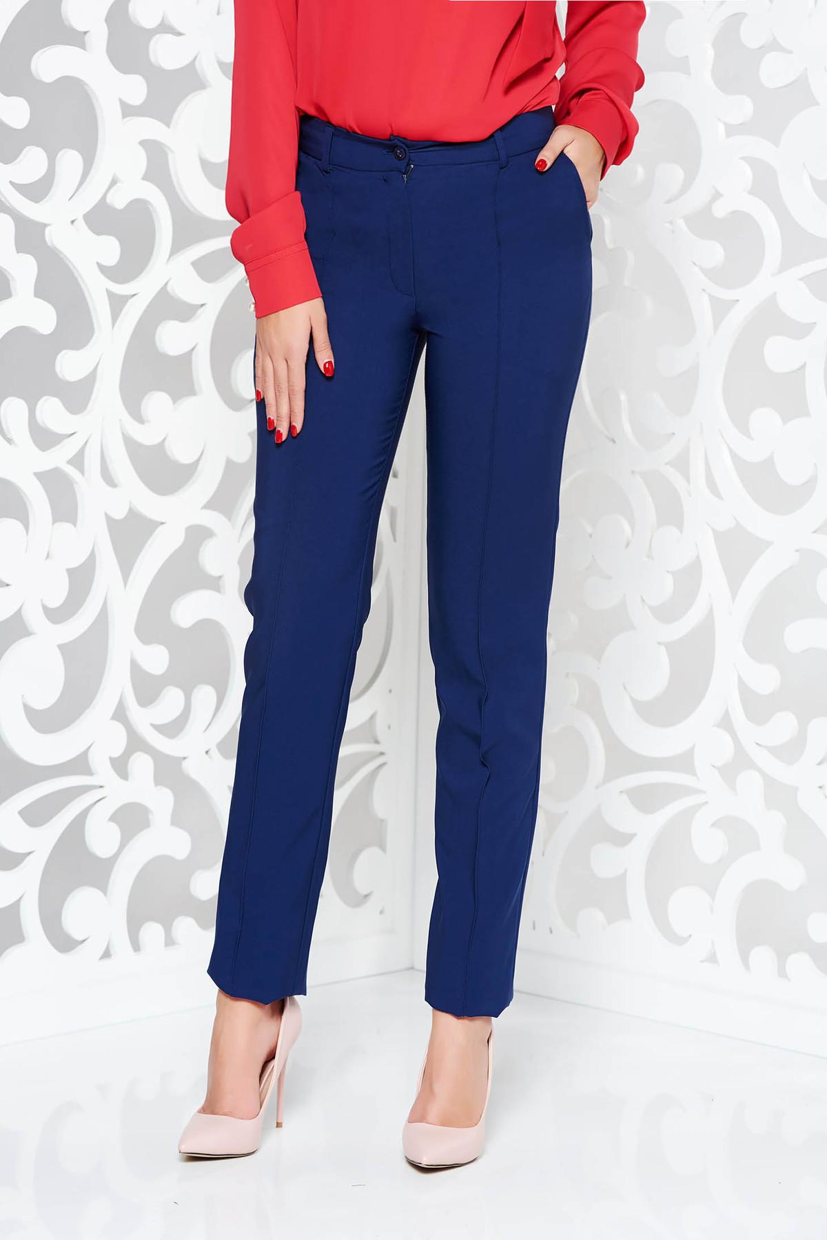 Pantaloni LaDonna albastri-inchis office conici din stofa usor elastica cu talie medie si buzunare