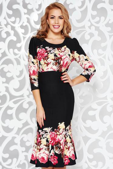 Rochie neagra eleganta midi cu un croi evazat din material elastic cu imprimeuri florale