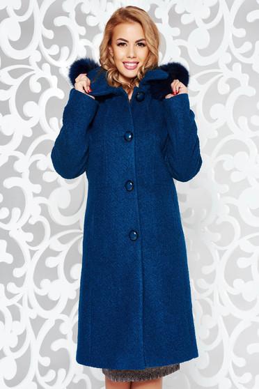 Palton turcoaz elegant cu un croi drept din lana captusit pe interior cu gluga detasabila