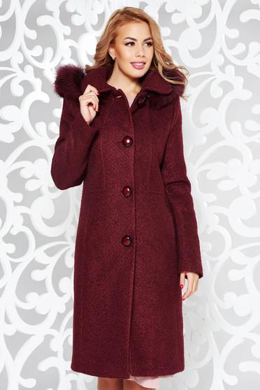 Palton visiniu elegant cu un croi drept din lana captusit pe interior cu gluga detasabila