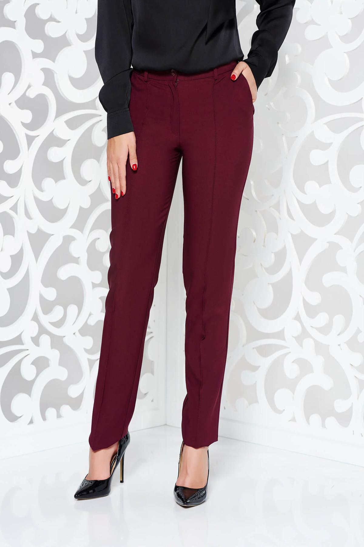 Pantaloni LaDonna visinii office conici din stofa usor elastica cu talie medie si buzunare