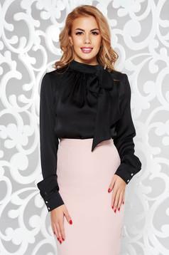 Bluza dama PrettyGirl neagra office cu croi larg din material neelastic cu guler tip esarfa