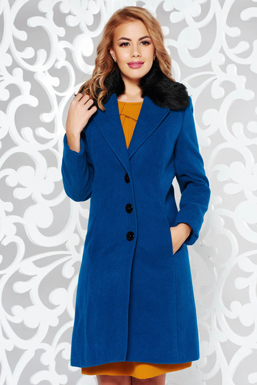 Palton StarShinerS turcoaz elegant cu un croi cambrat din lana captusit pe interior cu guler din blana