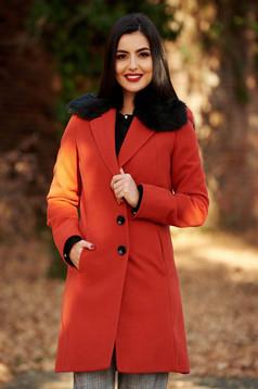 Palton StarShinerS caramiziu elegant cu un croi cambrat din lana captusit pe interior cu guler din blana