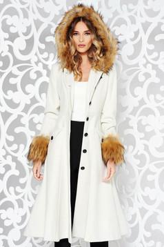Palton StarShinerS nude elegant in clos din lana captusit pe interior cu insertii cu blana ecologica