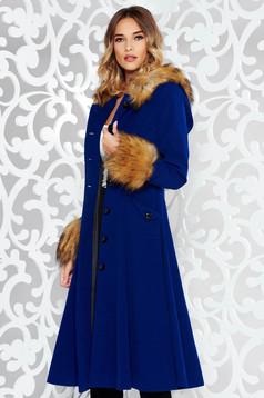 Palton StarShinerS albastru elegant in clos din lana captusit pe interior cu insertii cu blana ecologica
