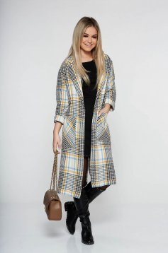 Palton StarShinerS crem office cu croi larg din bumbac neelastic in carouri cu buzunare