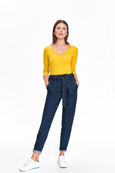 Bluza dama Top Secret galbena casual mulata din bumbac usor elastic cu decolteu in v