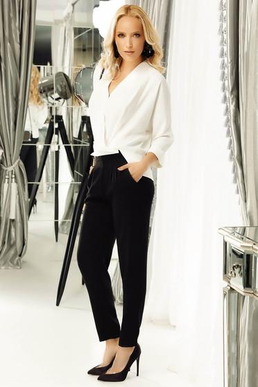 Pantaloni Fofy negri office conici cu talie medie din material usor elastic cu buzunare