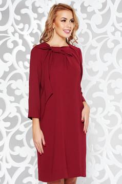 Rochie LaDonna visinie eleganta cu croi larg din stofa neelastica cu maneci trei-sferturi