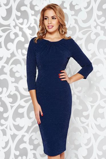 Rochie albastra-inchis eleganta tip creion din material elastic cu fir lame captusita pe interior