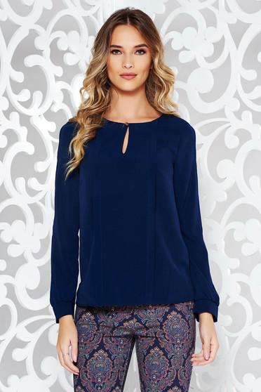 Bluza dama albastra-inchis office cu croi larg din material vaporos cu maneci lungi