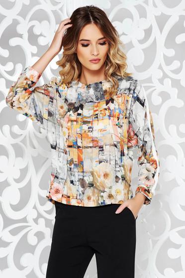 Bluza dama gri office cu croi larg din material neelastic cu imprimeuri florale