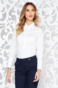 Camasa dama alba office cu un croi cambrat din bumbac usor elastic cu maneci lungi