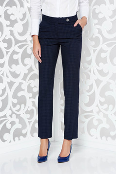 Pantaloni albastri-inchis office cu un croi drept din stofa neelastica in carouri cu buzunare