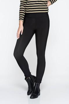 Colanti PrettyGirl negru casual cu talie inalta din material elastic cu un croi mulat