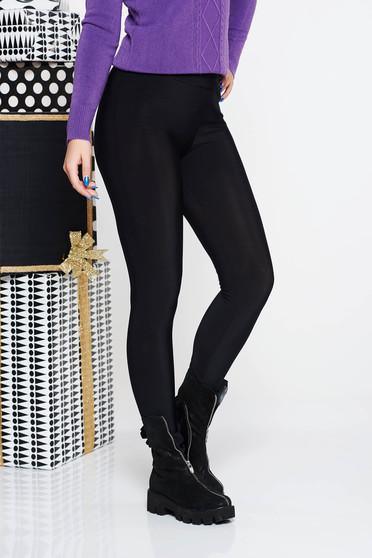 Colanti PrettyGirl negru casual cu talie inalta din material elastic vatuit cu un croi mulat