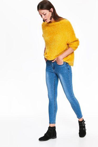 Blugi Top Secret albastri skinny cu talie medie din bumbac usor elastic cu buzunare