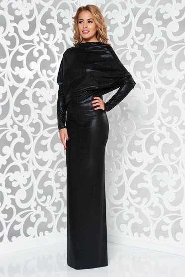 Rochie neagra de ocazie lunga tip sirena din material lucios cu spatele gol