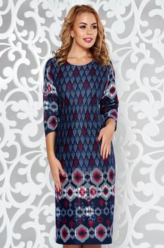 Rochie albastra-inchis de zi tip creion din material tricotat cu maneci trei-sferturi