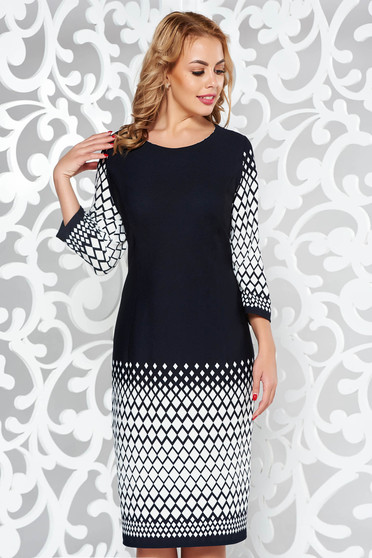 Rochie neagra eleganta tip creion cu maneca 3/4 din material elastic cu print
