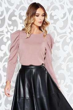 Pulover StarShinerS rosa elegant din material tricotat si tesatura metalica cu luciu cu maneci bufante