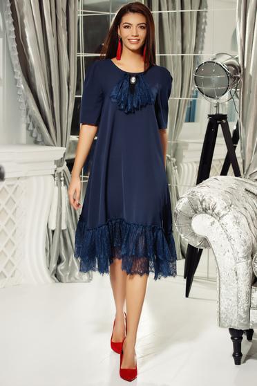 Rochie Fofy albastra-inchis eleganta cu croi larg din material usor elastic cu aplicatii de dantela