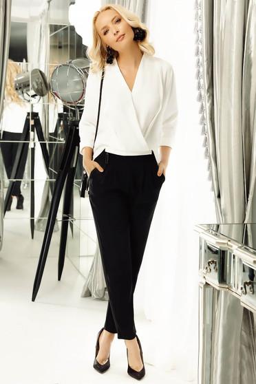 Bluza dama Fofy alba eleganta cu croi larg petrecuta din material vaporos cu maneci trei-sferturi