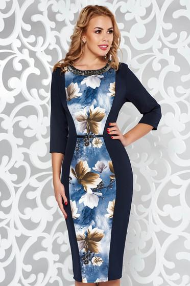 Rochie albastra-inchis eleganta midi tip creion din stofa usor elastica cu aplicatii cu margele