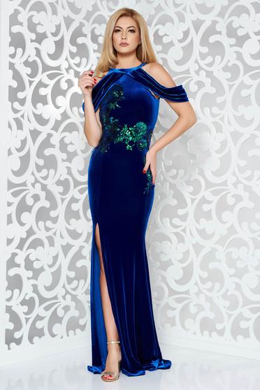 Rochie StarShinerS albastra de ocazie tip sirena din catifea cu paiete cu umeri goi