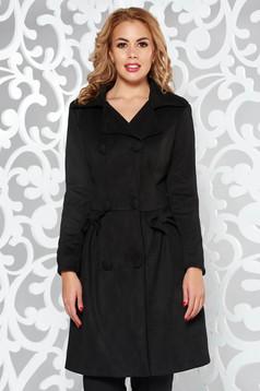 Palton Artista negru in clos din material catifelat captusit pe interior cu buzunare accesorizat cu fundite